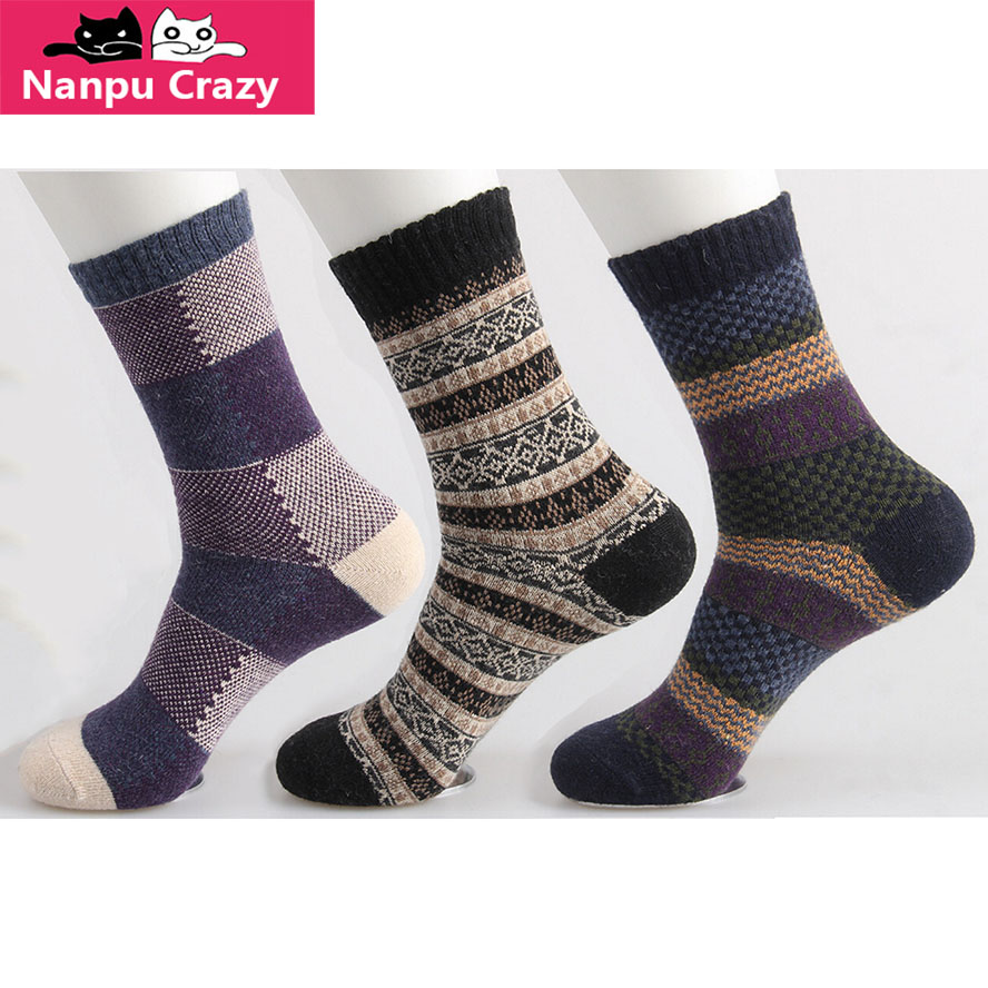 Harajuku Ethnic Strip Wool Socks Men Winter Warming Heated Hemp Socks for Skiing Harajuku Winter sport Dress Sock