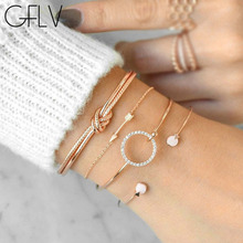 GFLV 4Pcs Cute Metal Opening Bracelets for Women Bohemian Adjustable Bracelet Bangle Set Statement Jewelry Charm B004