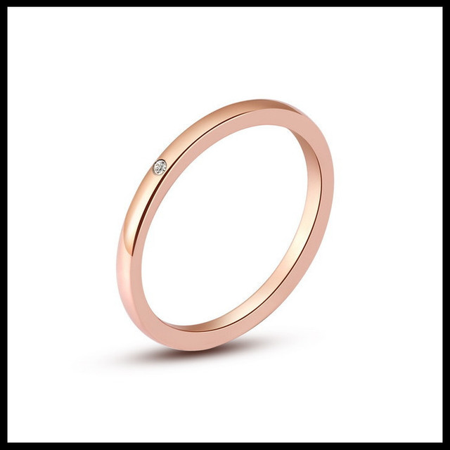 492ccaf01a Women Ring Rose Gold 316L Stainless Steel CZ Wedding Engagement Band Thin  Slim Rings Finger Decorative Ring Jewelry