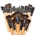 32 pcs Pro Pincéis De Maquiagem de Madeira Em Pó Suave Fundação Lábio sobrancelha Sombra Moda Maquiagem Escova Kit + Bolsa saco