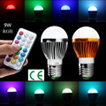 1pcs New arrival LED RGB bulb E27 GU10 E14 B22  9W 15W  AC 85-265V rgb led Lamp with Remote Control multiple colour led rgb lamp
