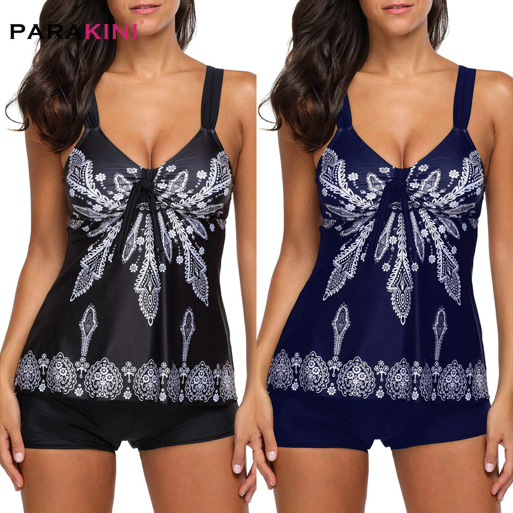 PARAKINI Women's Retro Printed Tankini Push Up Swimsuit Swimwear Large Size Two Piece Print Spaghetti Strap Padded Top And Short