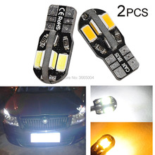 2PCS Canbus White/Warm white T10 Wedge 8-SMD 5730 LED Light bulbs W5W No Error 192 168 194