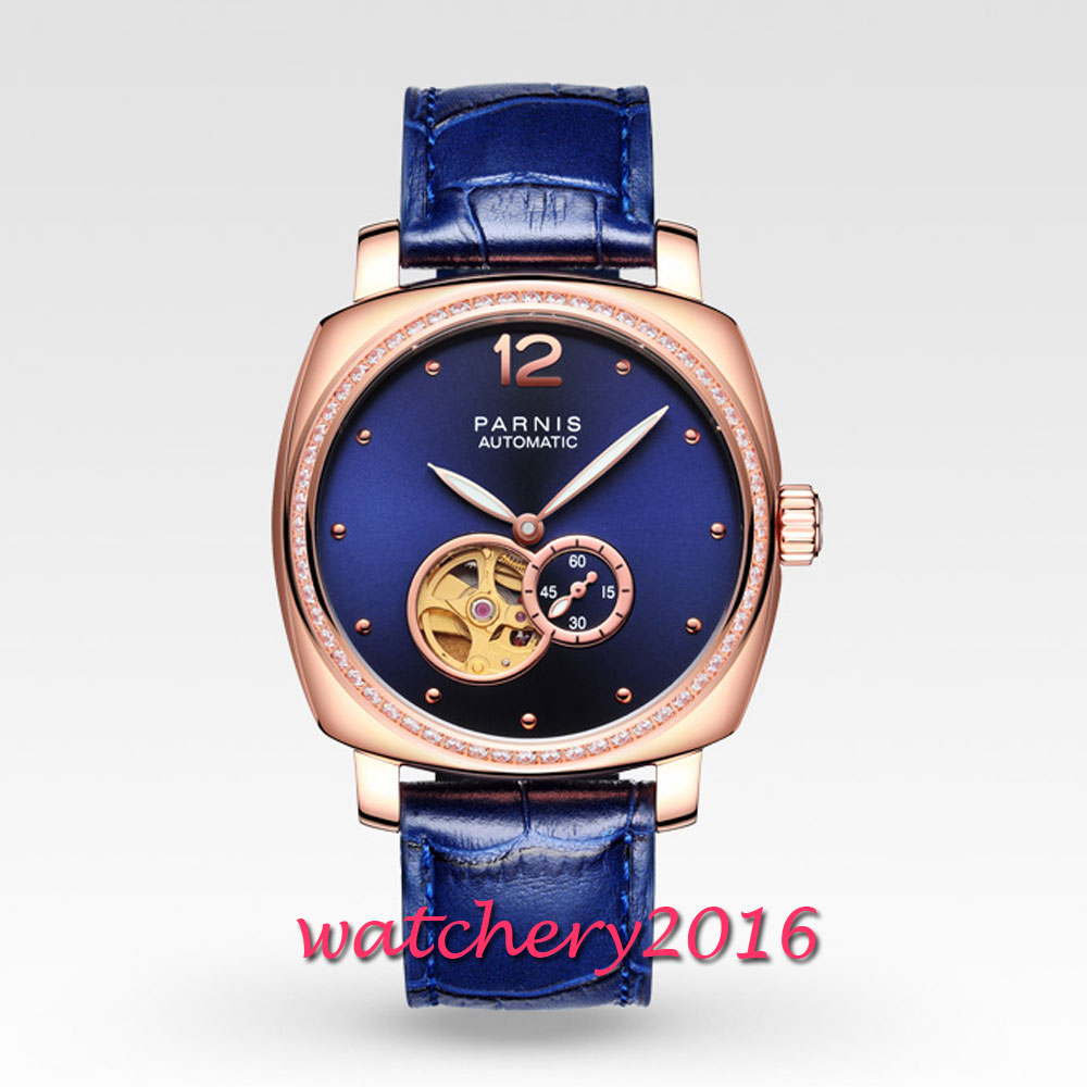 Classic vintage 39mm Parnis Blue Dial Rose Golden Plated Case ladies Watches Luxury Brand Miyota Automatic Movement mens Watch
