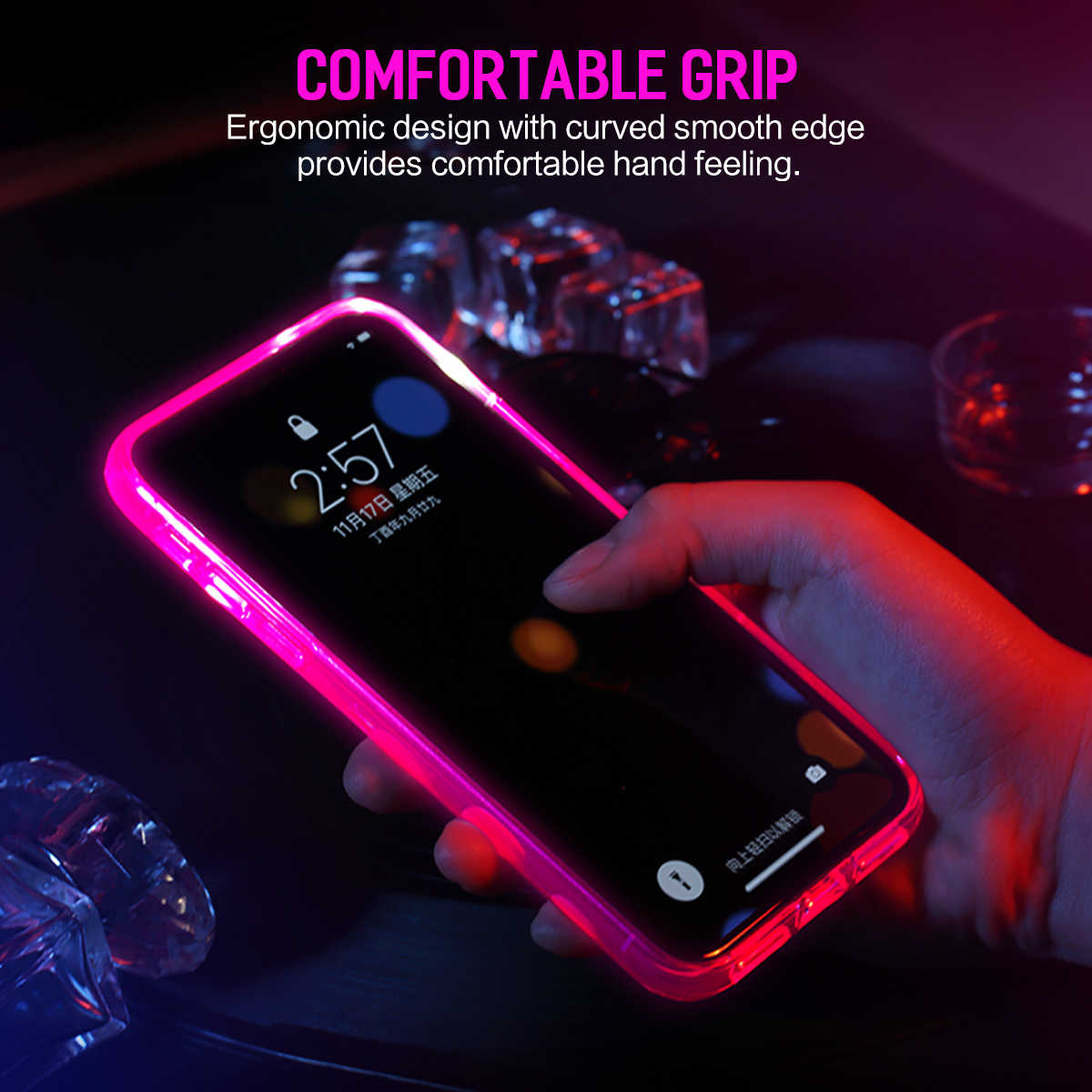 catch 57434 0d611 for iPhone X Case,ROCK Original Brand LED Flash Light Calling Notice for  Alert Phone Cases Crystal Clear Shell Cover For iPhoneX