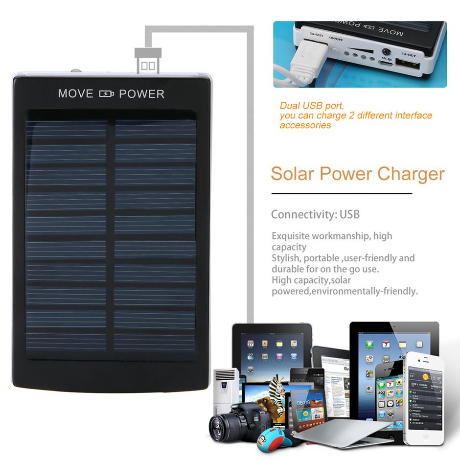 Energia Solar portátil 50000 mah Bateria Externa Dupla USB LEVOU Carregador de Bateria Do Telefone Móvel Externo processo de Backup de Energia