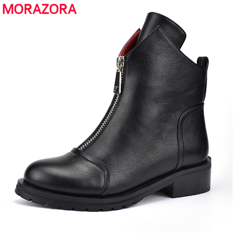 MORAZORA Russian style Plus size 34-42 New women boots zip soft pu leather autumn winter boots round toe ladies ankle bootsMORAZORA Russian style Plus size 34-42 New women boots zip soft pu leather autumn winter boots round toe ladies ankle boots