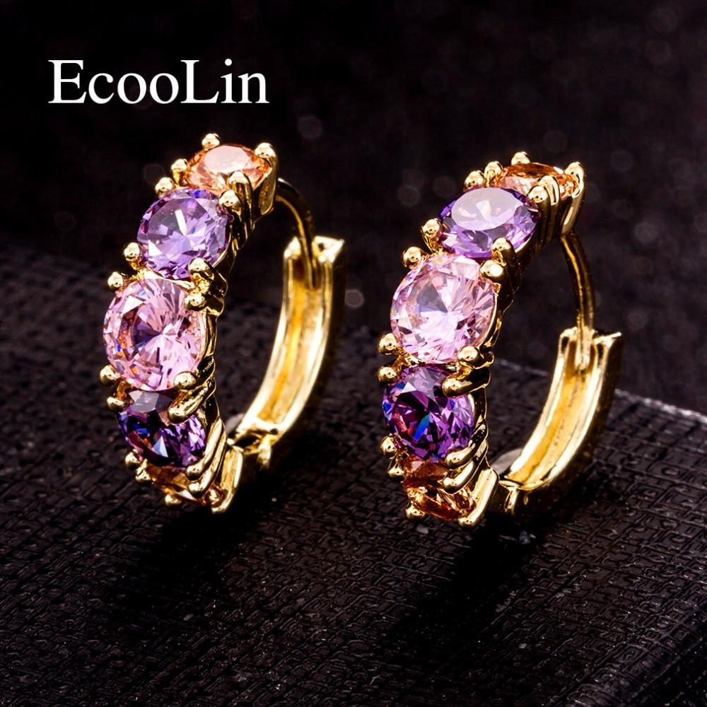 Women Stud Earring Jewelry Fashion AAA Purple Zircon Element Stud Earrings For Women