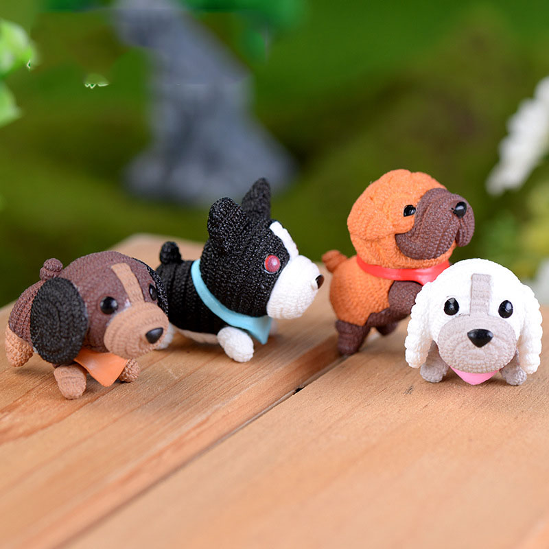 4 Pcs Kawaii Mini Dog Resin Figurines Bonsai Micro Landscape Dollhouse Ornaments Mini Craft Miniatures Birthday Wedding Gift
