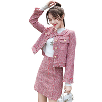 HAMALIEL High Quality Women 2 Piece Set Autumn Winter Red Tweed Tassel Single Breasted Jacket Coat + Fringe A Line Skirt Suits