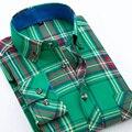 Primavera 2017 nueva hombres plaid camisas casual slim fit de manga larga de algodón botón-up brand clothing franela suave comodidad camisa de los hombres