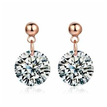 Hot Sell Fashion Design Formal Dress Party Rose gold-Color Pave Setting  Sparkling Crystal Cubic Zirconia Earrings Accessories a5b201aaf5d6