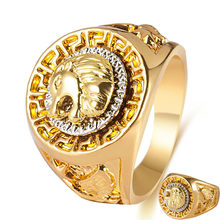 Vintage Charm Gold Color Classic Punk Rock Hip Hop Finger Rings for Men Cool Male Lion Head Animal Ring Fashion Hand Jewelry(China)