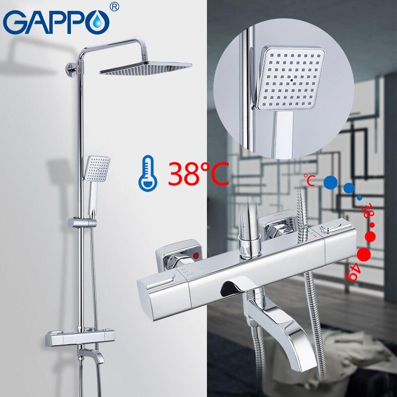 GAPPO robinets de douche thermostatique salle de bain mitigeur de douche robinet de douche robinet de bain mural mitigeur de pluie ensemble de douche - 4