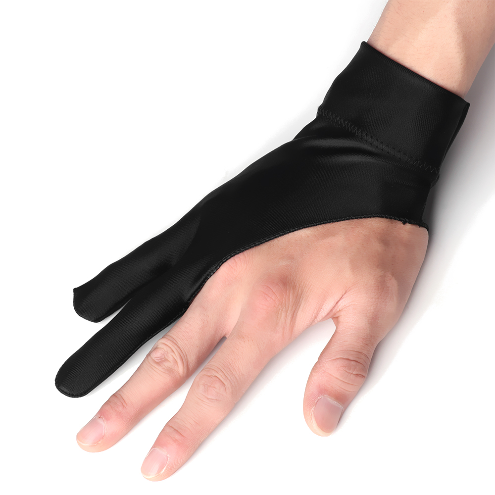 1PC Artist Drawing Glove For Any Graphics Drawing Tablet Black 2 Finger Anti-fouling,both For Right And Left Hand Black