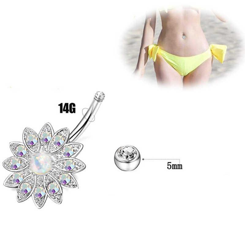 8 יח'\סט זהב צבע סקסי נשים קריסטל זירקון Rhinestones עגול גוף טבעת תכשיטי טבור פירסינג גוף תכשיטים