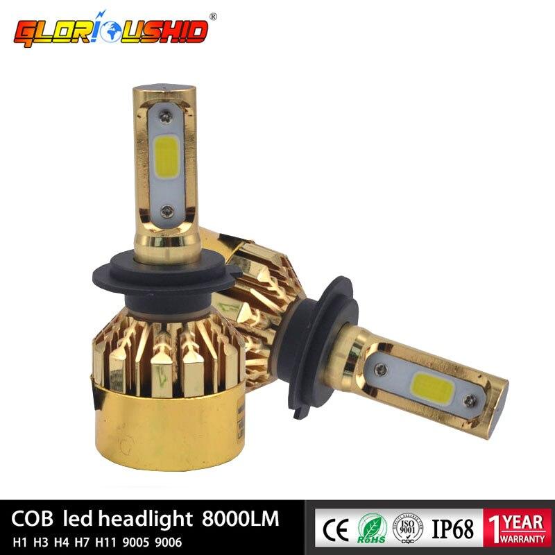 72W 8000lm H4 LED H7 H1 H3 H11 9005 9006 9007 881 H13 Led Headlight Bulbs 6500k COB Chips Automobile Fog Light Car Lamp 12V