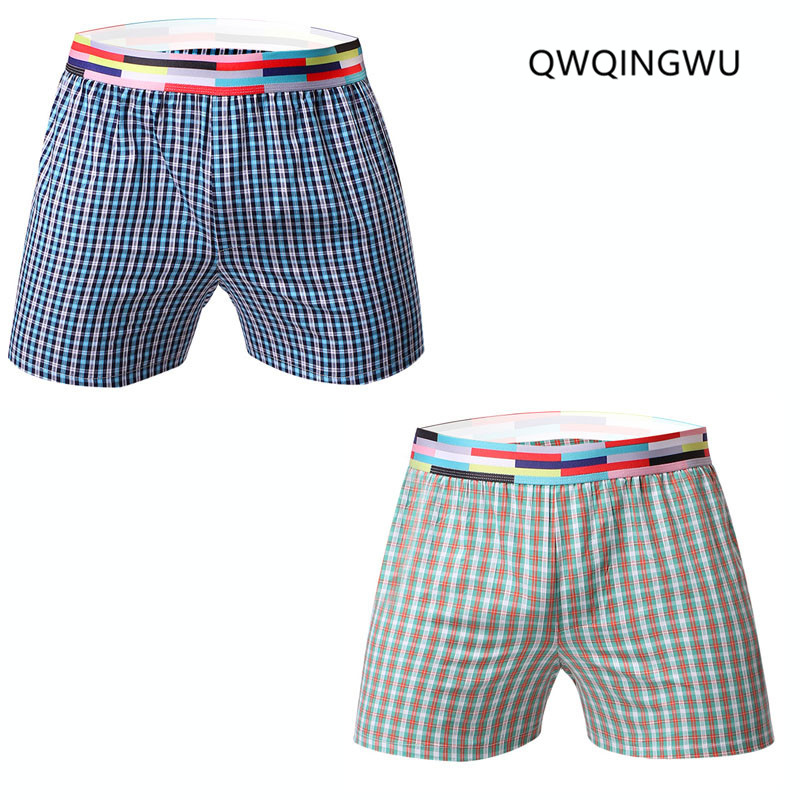 2PCS/Lot Board Shorts Men Summer Beach Shorts Leisure Quick Dry Sea Men's Plaid Cotton Casual Board Shorts Trunks