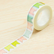 15mmX10m kawaii Small tooth flag washi tape DIY decoration scrapbooking planner masking adhesive label school supplies