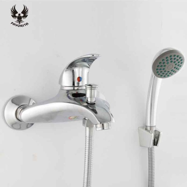 Favorita 2016 Bathroom Exposed Bath Shower Faucet Cold And Hot Water Tap Sets Free Shipping