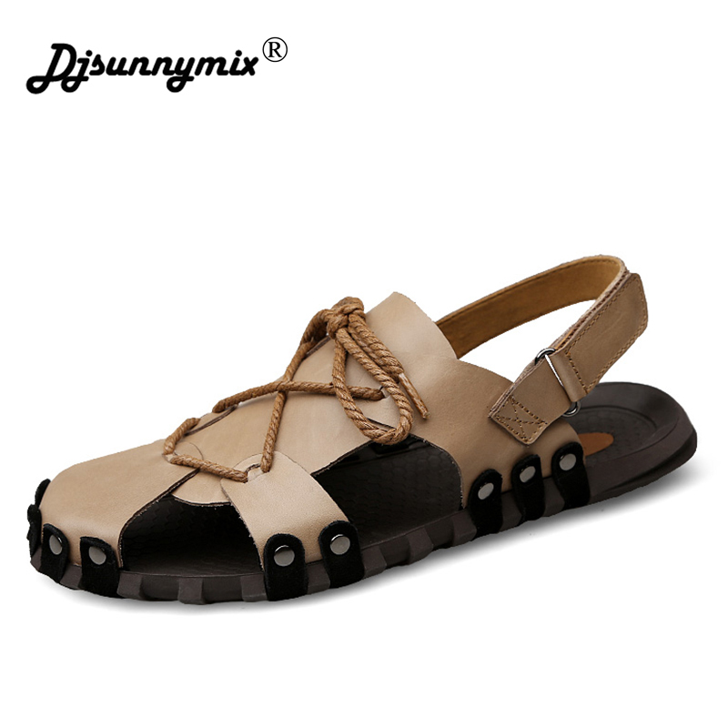 DJSUNNYMIX Men Sandals Summer Soft Men Casual Sandals Genuine Leather Slip On Men Beach Shoes big size 46