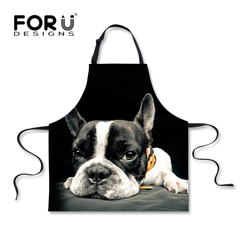FORUDESIGNS Funny Black Kitchen Forklær Søt Trykt Animal Dog Cat Cooking Forkle For Menn Kvinner Novelty Chef Cafe Work Forklær