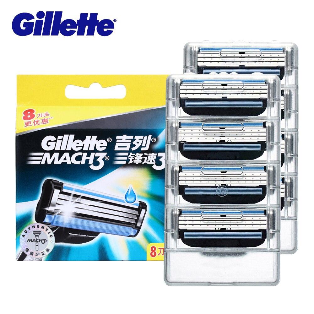 Gillette marca Mach 3 afilado de cuchillas de afeitar de los hombres cara afeitar cuchillas de afeitar para hombres 8 cabeza Manual de tres capas hoja herramientas