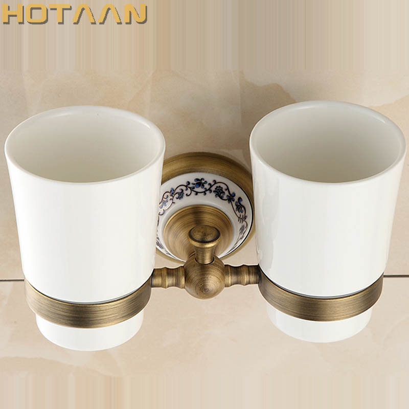 Free shipping Fashion toothbrush holder,Pure copper&ceramic,Double cup, Bathroom tumbler holder bathroom set-wholesale YT-11508 new bathroom antique double tumbler cup holder toothbrush holder bathroom accessory sanitary ware bathroom furniture sl 7808