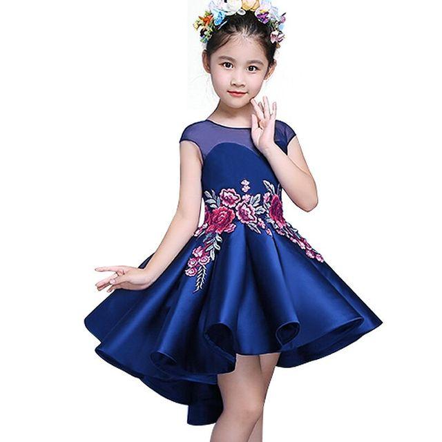 Partido de los cabritos Del Vestido de La Muchacha Niño Niños bordado Chino Arrastra El Vestido de dama de Honor vestido de ropa de Bebé Niña Vestido de Princesa