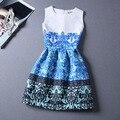 Новые девушки вечерние платья подросток цветок печать рукавов жилет ну вечеринку платье тонкий детский костюм одежда Vestido феста Menina