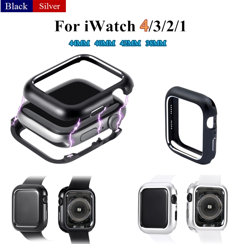 Metal Cover Case for Apple Watch Series 4 44MM 40MM Aluminum Magnetic Adsorption Protective Shell for iWatch 3 2 1 42/38MM Frame case cover for apple watch 4 44mm 40mm iwatch strap 3 2 42mm 38mm aluminum alloy frame diamond protective shell accessories