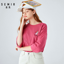SEMIR T-shirt women 2019 autumn new round neck three quarter sleeves embroidered Korean version loose ulzzang tshirt black round neck bell sleeves embroidered blouses