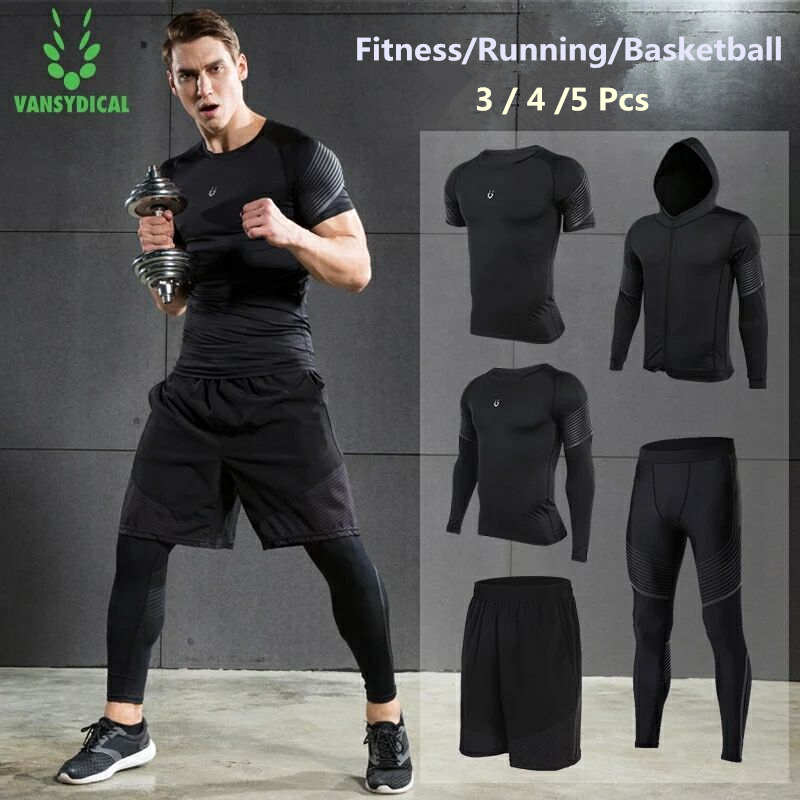 47f86489bdbf34 Vansydical Running Set Men's Quick Dry Sports Suits Compression Tights  Fitness Basketball Workout Jogging Gym Clothes 2 5pcs -in Running Sets from  Sports ...