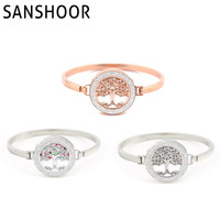 2016 Hot Sale Tree Of Life Magnetic Coin Disc Bangle Bracelet With Double Crystal 1 Set