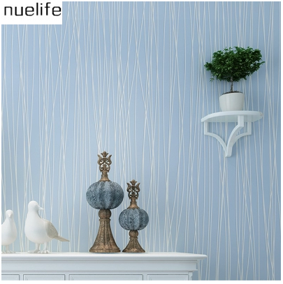 modern simple non - woven fabrics solid color stripes wallpaper color bedroom  living room television background wallpaper N12 static dust cleaning removing non woven fabrics white 20 pcs
