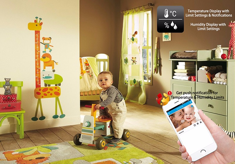 Homtrol Baby Monitor with Temperature & Humidity Sensor Network Cube WiFi IP Camera HT-SC800 3
