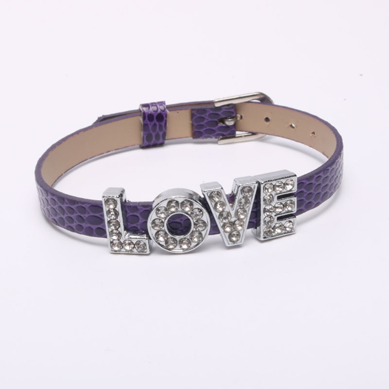 Leather Belt Chain with Movable Crystal LOVE Letters Bracelet DIY Rhinestone Beads Charms Bracelets Women Jewelry New Year Gift