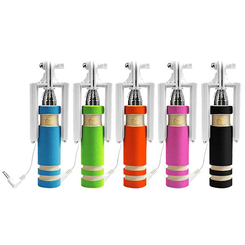 Hot Sale Mini Selfie Stick with Button Wired Cotton Material Handle Monopod Universal for Mobile Phone