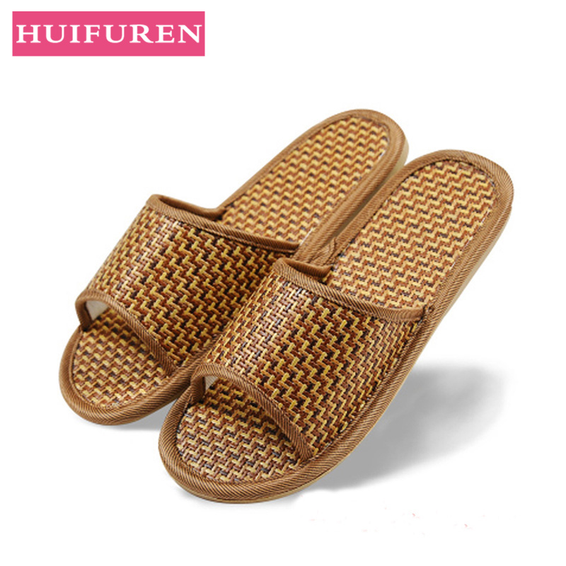 Women Indoor Slippers Straw Mat Comfortable Spring Summer Shoes Woman Home Slides Non-slip Breathable Lovers Bedroom Slippers