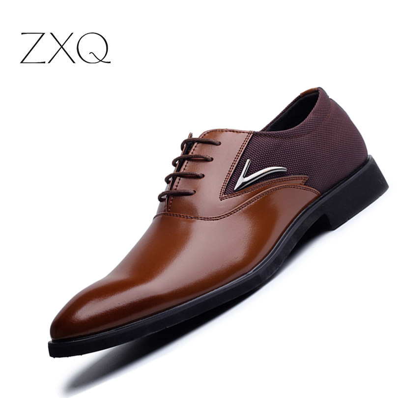 Plus Size 38-48 Men Leather Dress Shoes Pointed Toe Business Formal Men Office Shoes Lace Up Black Brown Oxford Shoes For Men