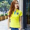 M-3XL Camisa Polo Bordado Dos Desenhos Animados Causal das Mulheres Senhoras Manga Curta Polo Magro Tops Sólidos Camisas do Projeto de Trabalho Fêmea B007