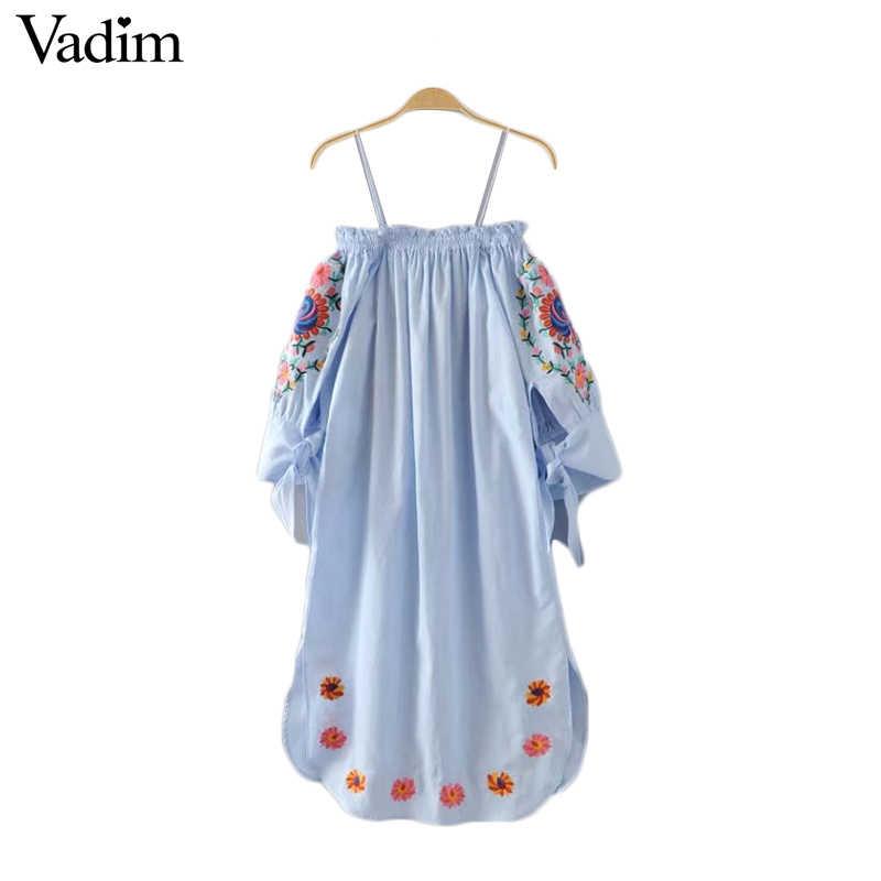 Vadim נשים כבוי כתף פרח רקמת ספגטי רצועת שמלת עניבת פרפר שרוול צד פיצול גבירותיי מקרית שמלות vestidos QZ2964