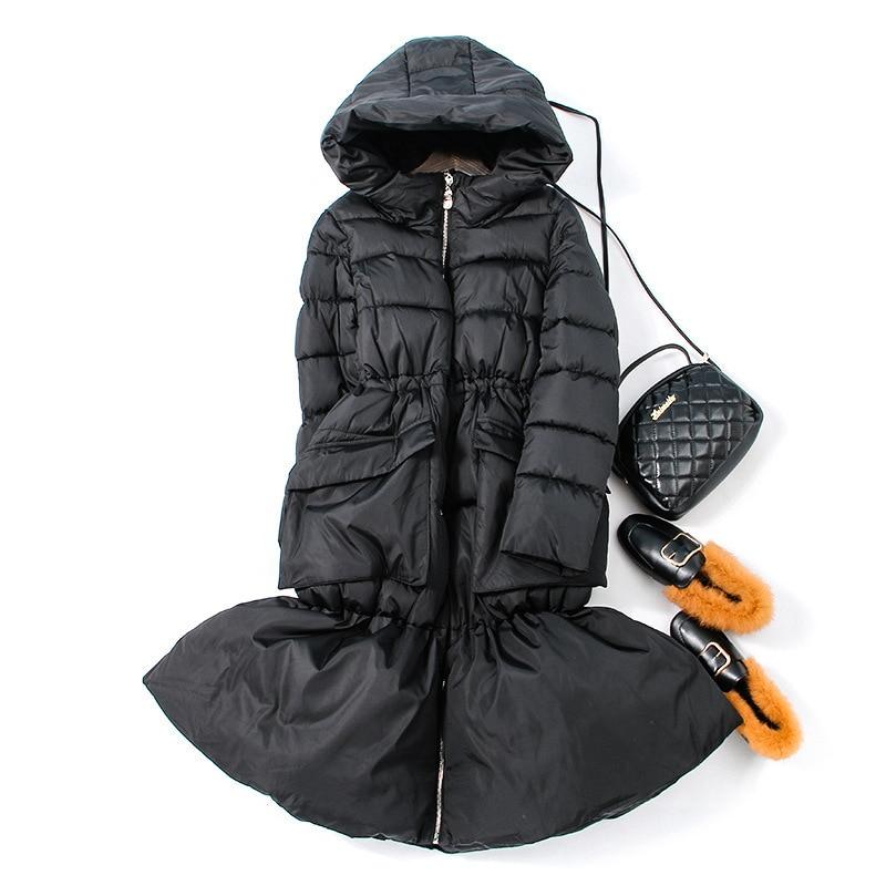 European style lady Parka coat Long down jacket Elegance women Fish tail Cotton outwear female winter jacket thicken warm Parkas