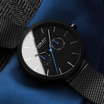 2018 новые модные простые мужские часы водостойкие синие точки повседневные кварцевые часы мужские с датой Неделя наручные часы Zegarek Meskie