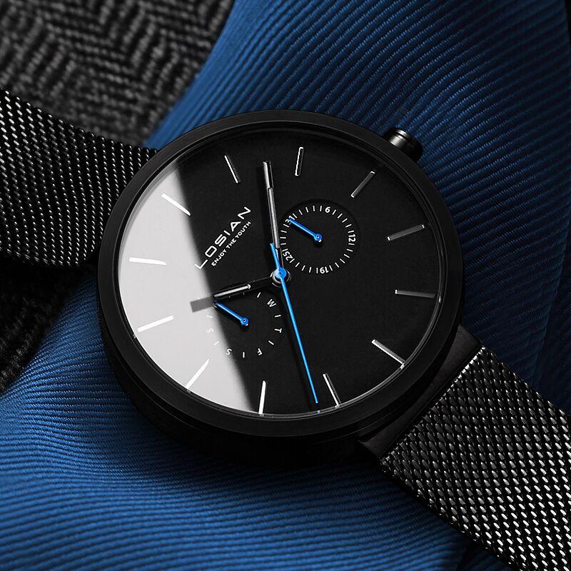 2018 nouvelle mode Hommes montre résistante à l'eau décontracté montres à quartz Date Semaine Montre-Bracelet Zegarek Meskie marque de luxe top noir herrenuhr