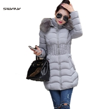 SWYIVY Winter Outwear Woman Coats Feminine Coat Slim Fur Hooded 2019 Thick Warm Cotton Parkas For Mid Long