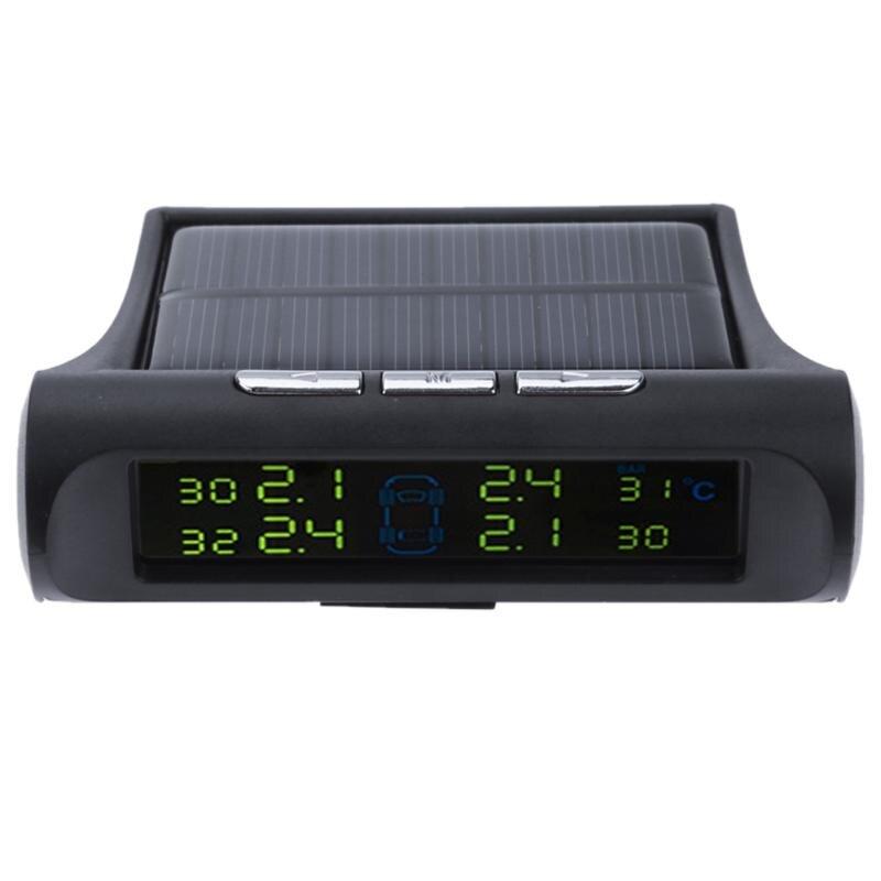 Système de Surveillance de Pression DES Pneus TPMS de voiture Solaire D'énergie LCD Couleur Affichage 4 Capteurs Externes Intelligent Sans Fil De Voiture de coiffure TPMS