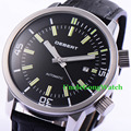 44.5mm DEBERT Black Luminous Dial Relojes Double Crown Miyota Movement Mens Automatic Watches Leather Strap WristWatch DT7919SB