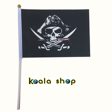 free shipping 100 PCS/ lot  Jolly Roger Skull and Cross Crossbones Pirates Hand Flag Hallowmas All Saints Day 14*21cm