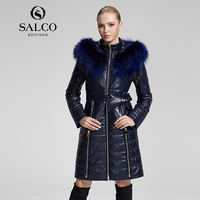 SALCO Free shipping 2019 newest popular in Europe and America long raccoon fur hooded leather jacket ladies section